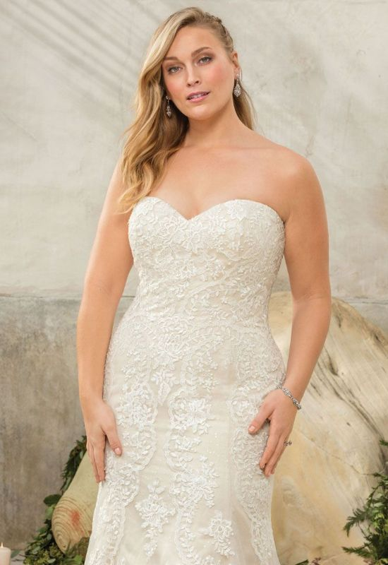 Sedona by Casablanca bridal plus size strapless mermaid wedding dress for curvy women at Love it at Stella's Bridal in Westminster, MD