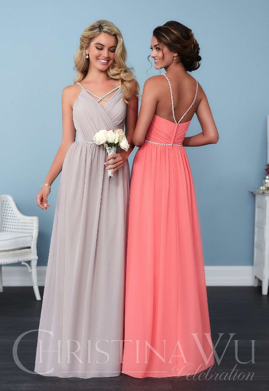 Christina Wu Celebration pink and grey bridesmaid dresses with straps at Love it at Stellas bridal boutique in maryland