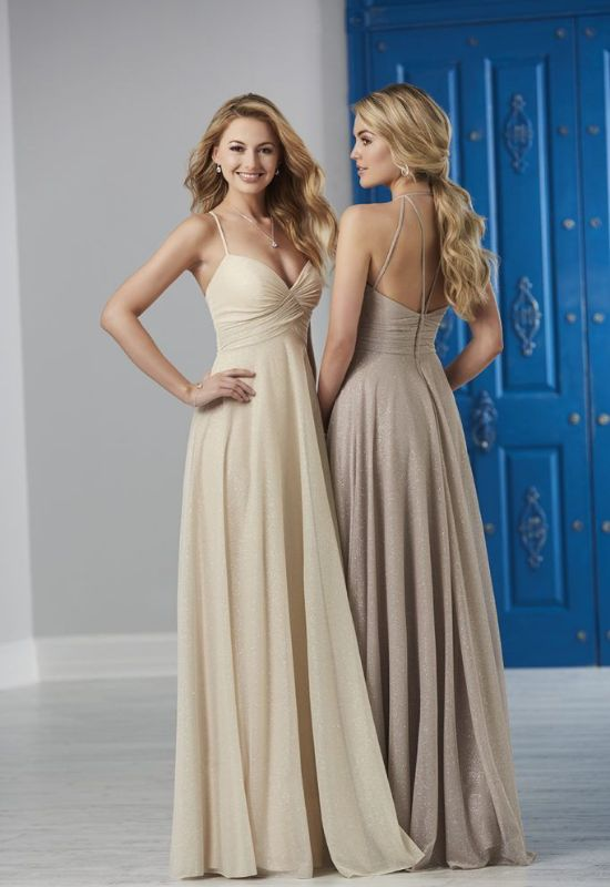 long bridesmaid dresses with straps at Love It at Stella's Bridal Shop in Maryland