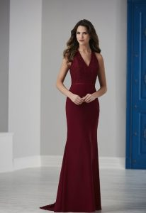 long wine color satin bridesmaid dress at Love It at Stella's bridal shop in maryland