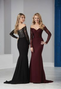 black and burgundy lace long bridesmaid dresses with sleeves at LoveIt at Stella's Bridal Shop in Maryland