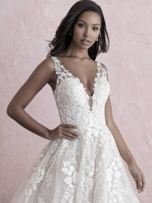 Allure Bridals Romance Collection A-line lace and sparkle-tulle bridal gown at Love It at Stella's Bridal & Fashions in Westminster Maryland
