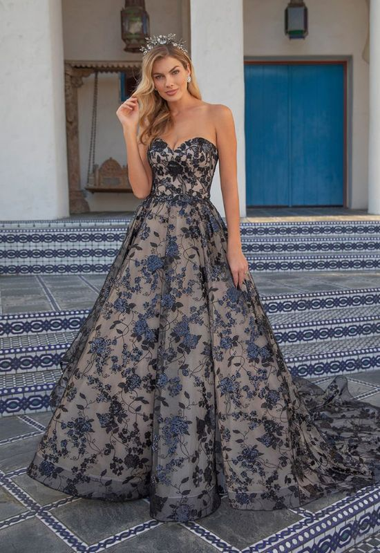 Beloved by Casablanca Black floral strapless wedding dress Decklyn at Love it at Stella's Bridal in Westminster MD