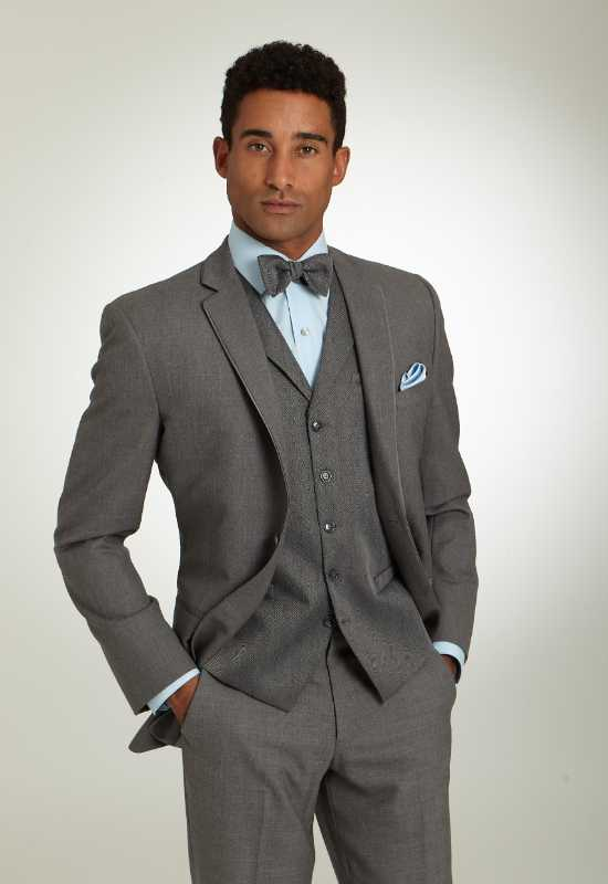 Heather Grey Tux suit Rental and for purchase at Love it at Stella's Bridal