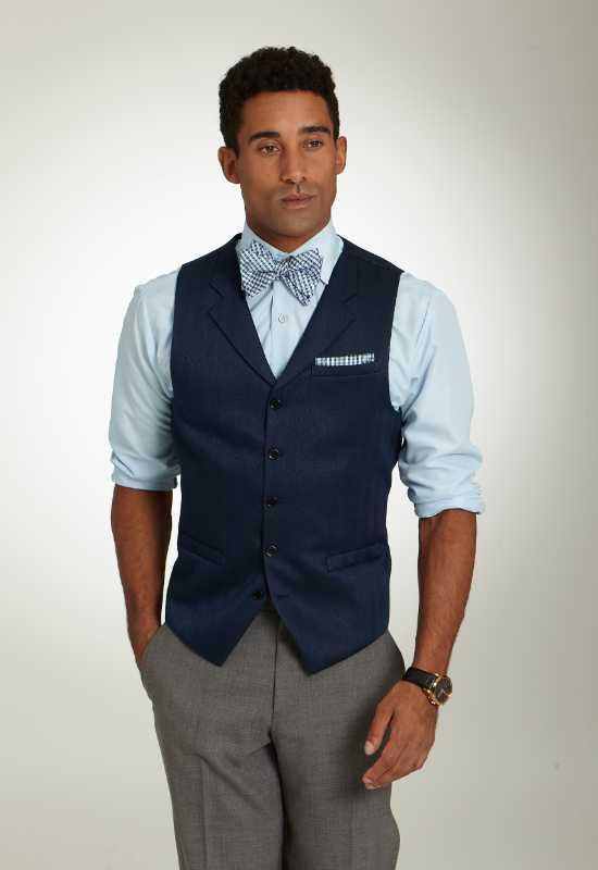Navy tuxedo vest for rent or purchase at Love it at Stella's Tux Shop in Westminster, MD