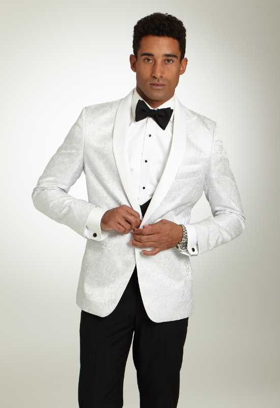White Paisley Tuxedo Jacket Suit jacket at Love it at Stella's Tux Shop in Westminster, MD