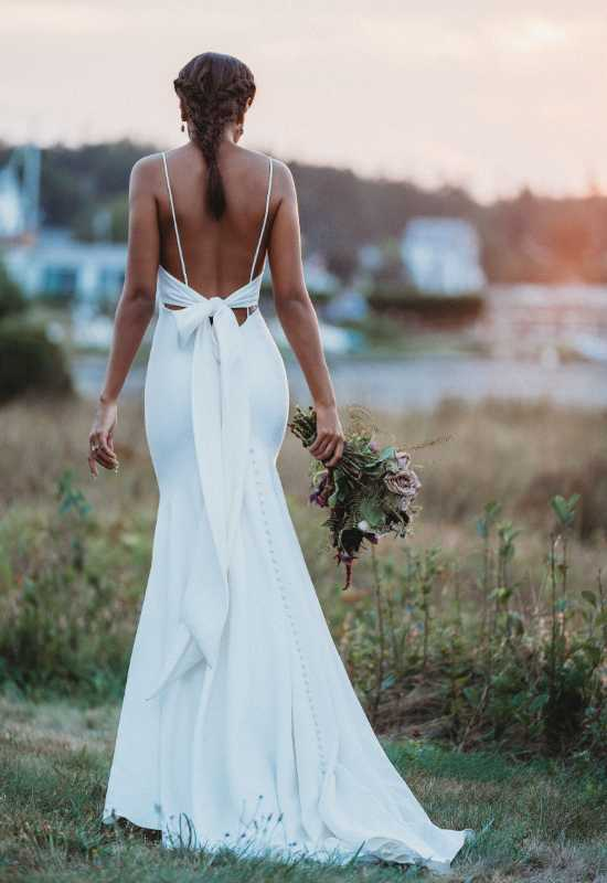 Bridal Shops near me Allure Bridals Simple Crepe Wedding Dress with Low Back and Bow Detail at Love it at Stella's Bridal in Greater Baltimore Westminster, MD