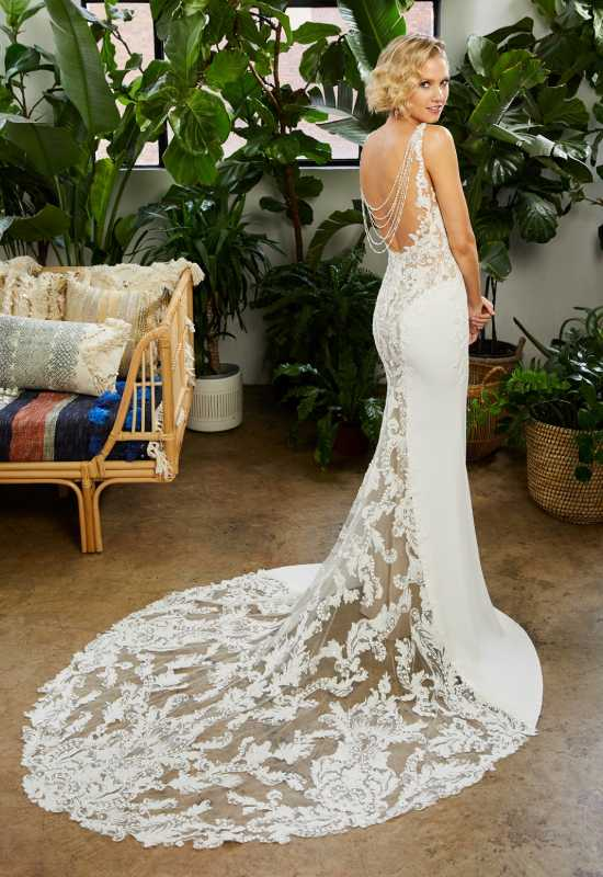 Lexi by Beloved by Casablanca Bridal Unique Wedding Dress with see through stunning Train at Love it at Stella's bridal in Greater Baltimore, MD