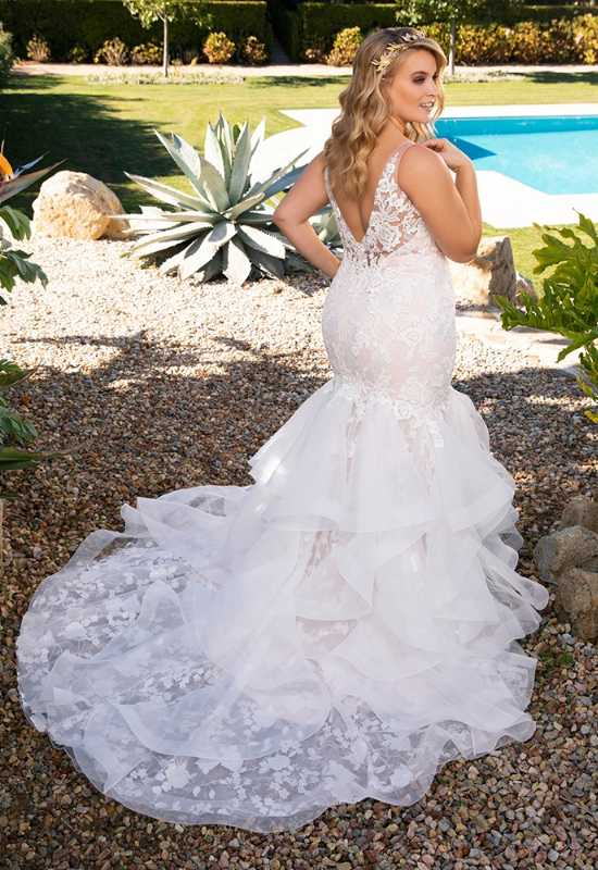Champagne Color Mermaid Wedding Dress with tank straps for Curvy Plus Size Bride at Love it at Stella's in Westminster, MD