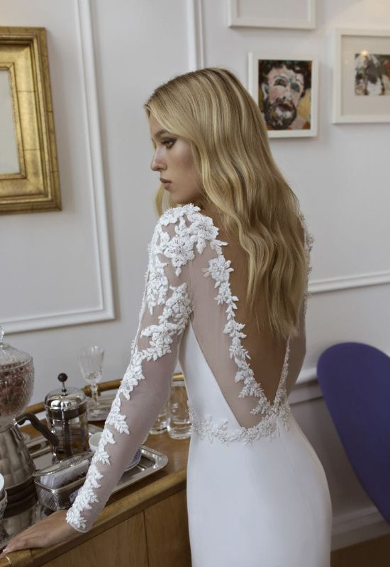 Filipa by Modeca Dutch Designs long sleeve crepe wedding dress at Love it at Stella's Bridal in Westminster, MD