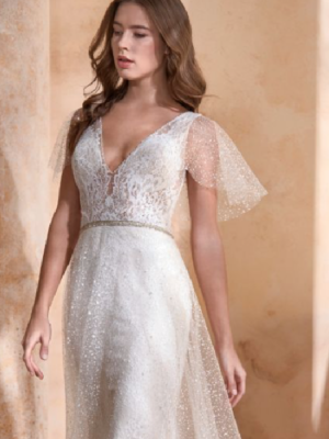 Hesper by Modeca Dutch Designs Le Papillon Couture line Unique bohemian wedding dress with flutter sleeves at Love it at Stella's Bridal in Westminster, MD
