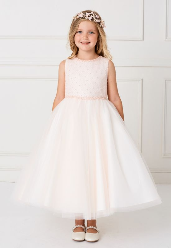 Blush flower girl dress for order at Love it at Stella's Bridal in Westminster, MD