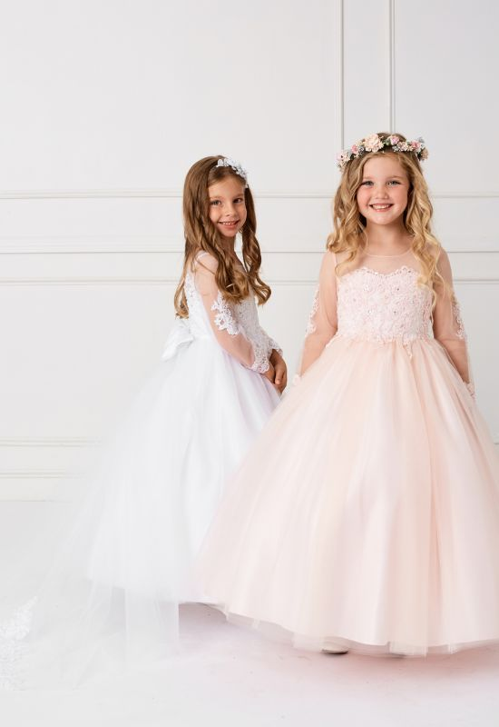 First Communion Flowergirl dress with long sleeves at Love it at Stella' bridal in Westminster, MD
