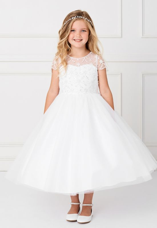 Flowergirl first communion dress with short sleeves at Love it at Stella's in Westminster, MD