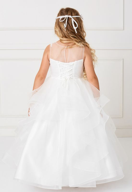 Flowergirl first communion dress with ruffle skirt at Love it at Stella's in Westminster, MD