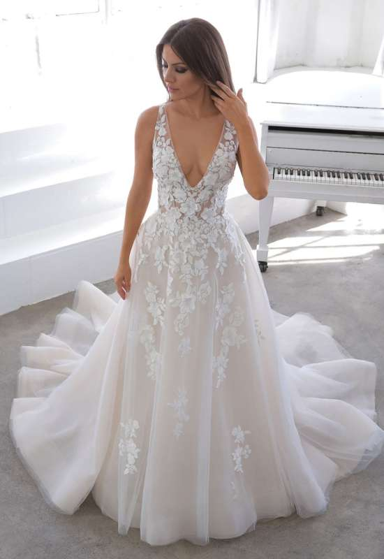 Nala by Blue by Enzoani deep-v a-line style 3D flower wedding dress at Love it at Stella's Bridal in Westminster, MD