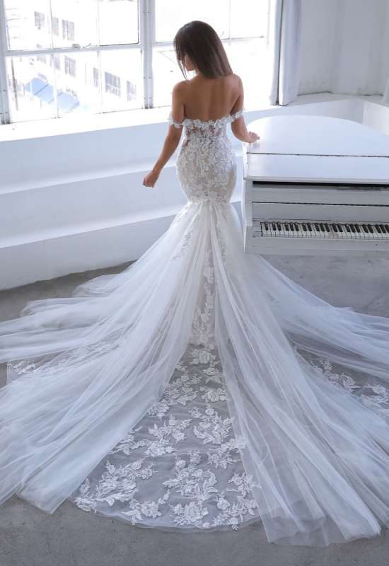 Narine by Blue by Enzoani off the shoulder mermaid wedding dress with 3D flowers and long train with soft tulle godets at Love it at Stella's bridal in Westminster, MD