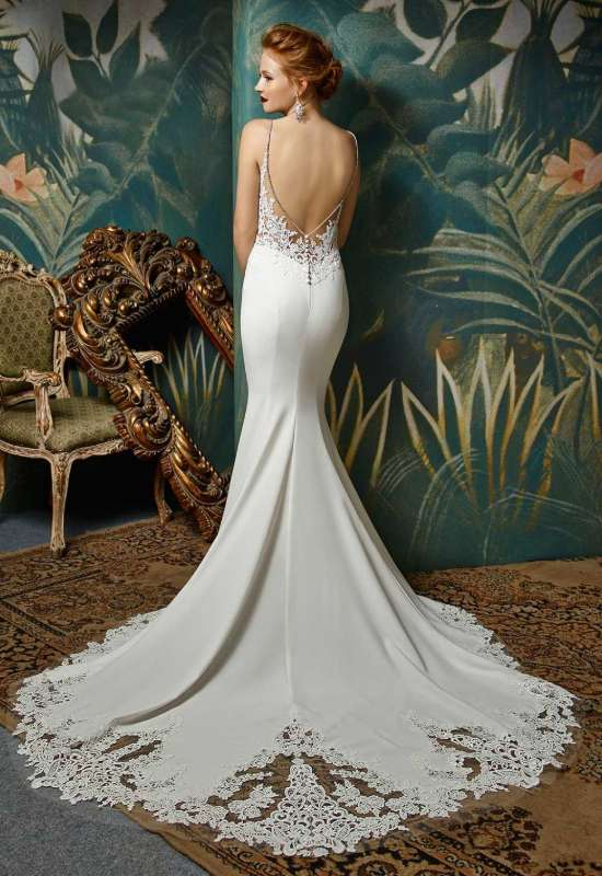 Juri by Blue by Enzoani crepe mermaid style wedding dress with cutout train and rhinestone spaghetti straps at Love it at Stella's bridal in Westminster, MD