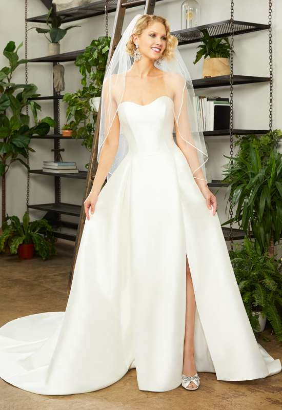 Hallie by Beloved by Casablanca Bridal strapless satin ballgown affordable wedding dress available at Love it at Stella's Bridal in Westminster, MD