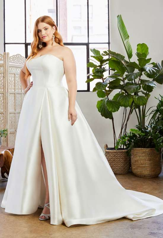 Hallie by Beloved by Casablanca Bridal plus size simple affordable wedding dress available at Love it at Stella's Bridal in Westminster, MD