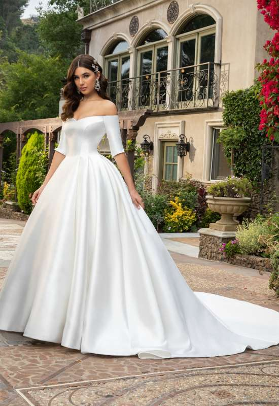 Macy by Casablanca Bridal Satin off the shoulder sleeves simple regal ballgown wedding dress at Love it at Stella's Bridal in Westminster, MD
