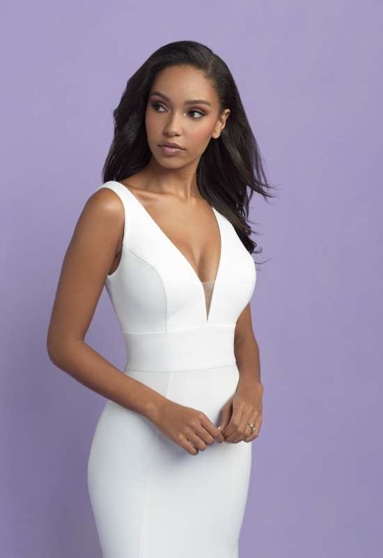 Allure Romance Wedding Dress crepe simple wide strap square back clean lines bridal gown with buttons at Love it at Stella's Bridal in Westminster, MD Greater Baltimore area