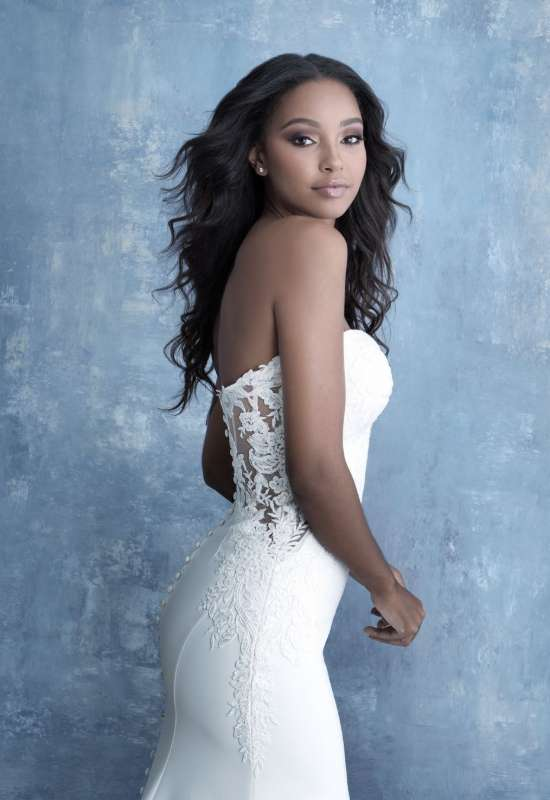 Allure Bridals strapless crepe deep-v neckline lace cutout sheath style wedding dress at Love it at Stella's Bridal in Westminster, MD