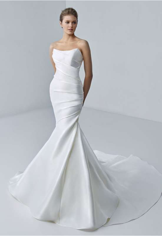 etoile by elysee by enzoani satin fitted strapless wedding dress at love it at stellas bridal in westminster md