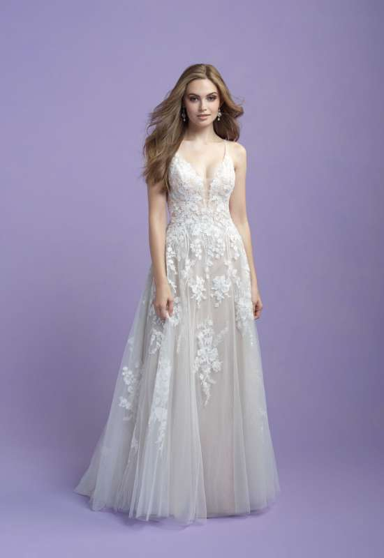 allure bridals a-line ballgown lace glitter sparkle wedding dress at love it at stellas bridal in westminster md