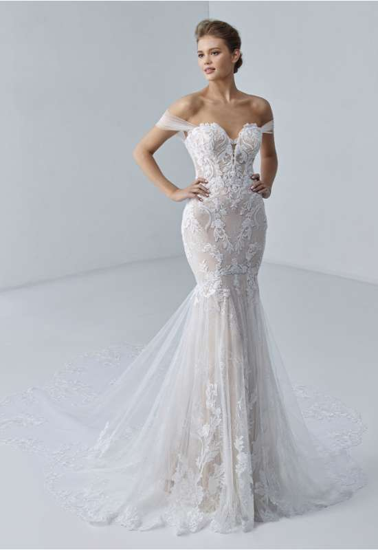 etoile by elysee by enzoani fitted lace sheer train wedding dress at love it at stellas bridal in westminster md
