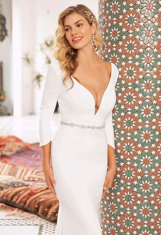 Honor by Beloved by Casablanca Bridal long sleeve simple crepe dress with buttons down the back, deep-v neckline and small opal beaded belt at Love it at Stella's Bridal in Westminster, MD greater Baltimore area