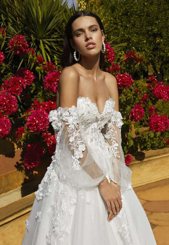 Demetrios Wedding dress with detachable bishop sleeves and 3D Flowers at Love it at Stella's Bridal in Westminster, MD bridal shops near me