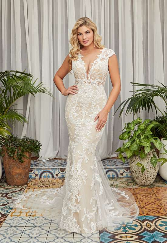 Carley by Beloved by Casablanca bridal cap sleeve swirling lace fitted wedding dress at Love it at stella's bridal in Westminster, MD greater baltimore bridal shop near me
