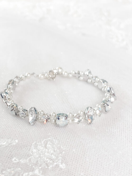 opal and pearl bracelet for your wedding day at Love it at Stella's Bridal in Westminster, MD