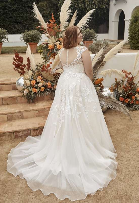 Mika by Casablanca bridals plus size wedding dress illusion cap sleeve wedding dress at Love it at Stella's Bridal in Westminster, MD greater baltimore bridal shop