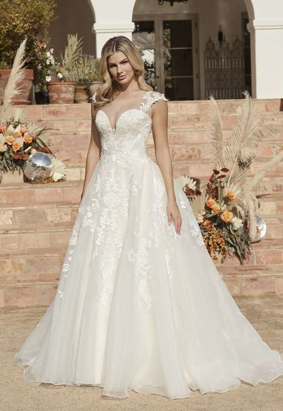 Mika by Casablanca bridals illusion cap sleeve wedding dress at Love it at Stella's Bridal in Westminster, MD greater baltimore bridal shop