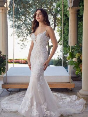 Kimberly by Casablanca Bridal lace fit and flare mermaid style wedding dress with boho lace pattern at Love it at Stella's Bridal in Westminster, MD greater baltimore area bridal shop near me