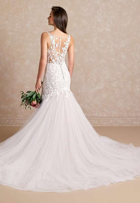 Paris 31176 by Adrianna Papell mermaid wedding dress with unique lines and organic floral lace style and tulle bottom at Love it at Stella's Bridal in westminster, MD baltimore area bridal shop