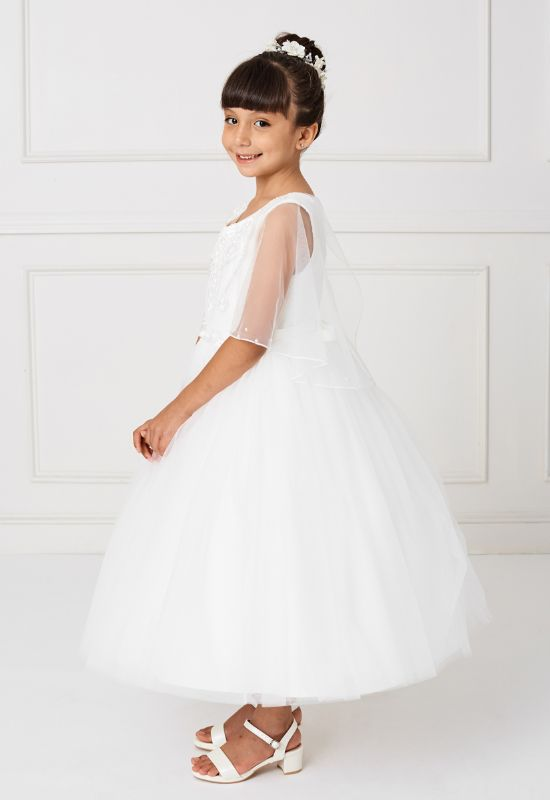 Flowergirl First Communion Dress with sleeves for little girls at Love it at Stella's Bridal in Westminster, MD greater baltimore bridal shop near me