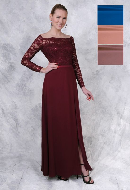 Off the shoulder long sleeve mother of the bride dress at Love it at Stella's Bridal in Westminster, MD Mother's Dresses near me