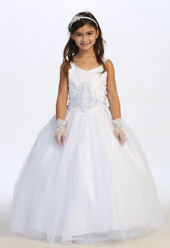 First Communion dress for little girls with guadalupe on bodice with gloves