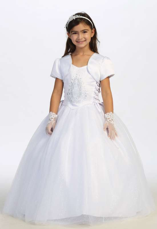 First Communion dress for little girls with guadalupe on bodice with jacket and gloves