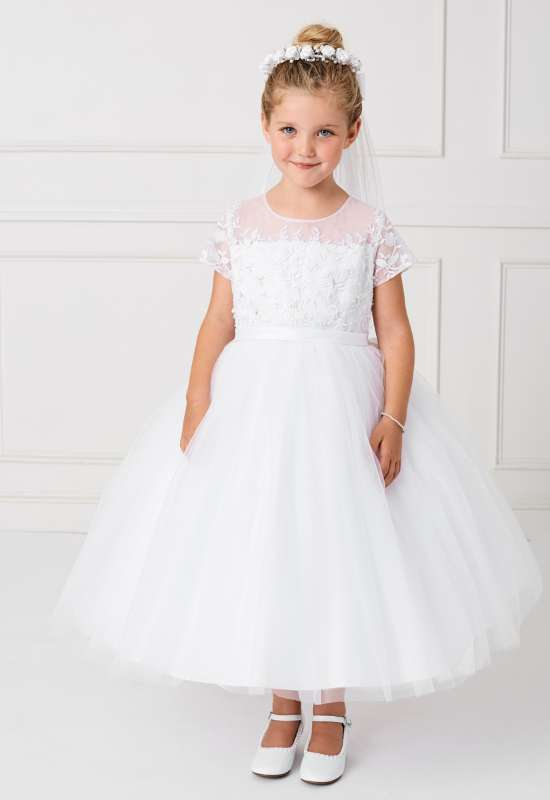 white First Communion Dress with short sleeves available for try on and order at Love it at Stella's Bridal in Westminster, MD flowergirl dresses near me