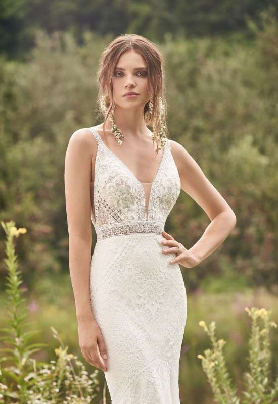 66136 Lillian West by Justin Alexander boho lace wedding dress with cutouts at Love it at Stella's Bridal in Westminster, MD