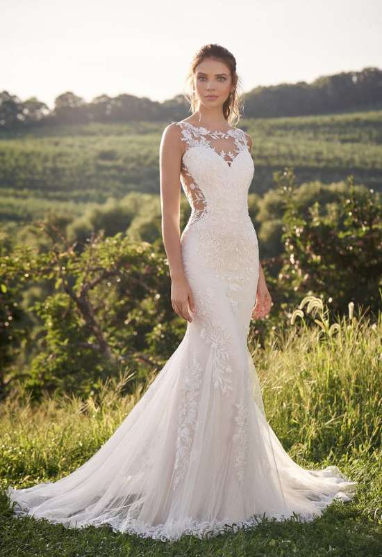 66143 Lillain West by Justin Alexander Lace high neck boho dress at Love it at Stella's Bridal in Westminster, MD