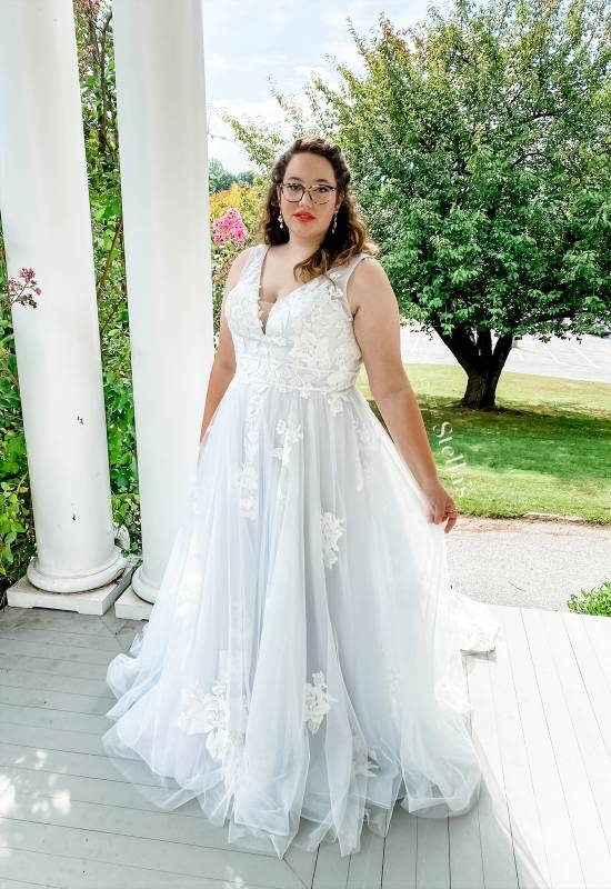Stella's Exclusive Collection Serenity light blue wedding dress with double band waist at Love it at Stella's bridal in Westminster, MD plus size wedding dresses