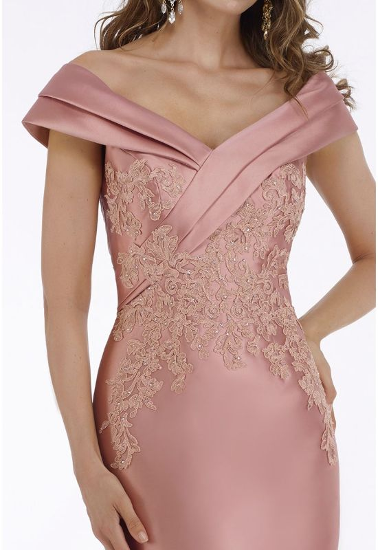 Feriani Couture Gia Franco Evening gown for Mother of the Bride in Dusty Rose with lace detailing and off the shoulder straps at Love it at Stella's Bridal in Westminster, MD