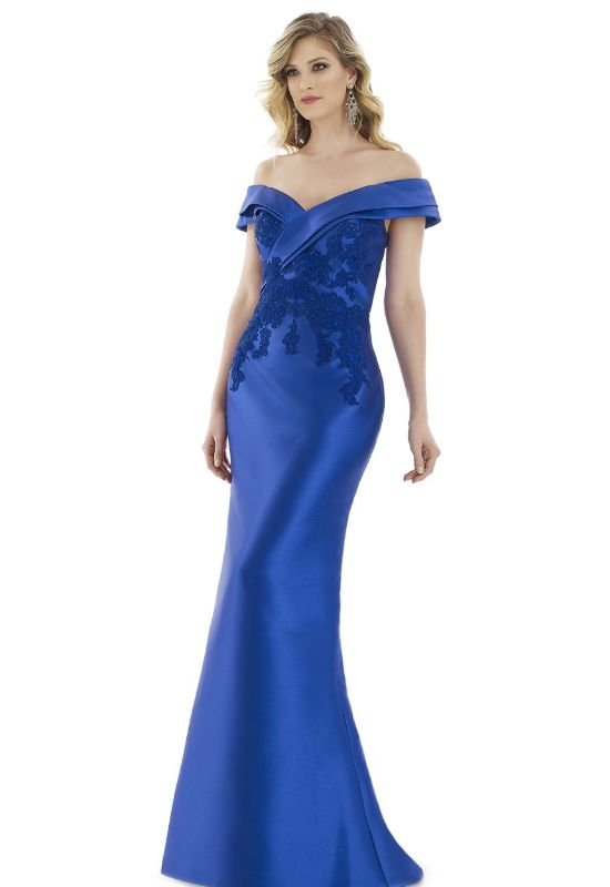 Feriani Couture Gia Franco Evening gown for Mother of the Bride in Royal with lace detailing and off the shoulder straps at Love it at Stella's Bridal in Westminster, MD