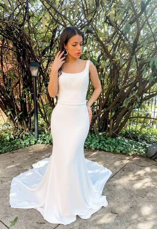 Clean modern style wedding dress with scoop neckline and thick straps at Love it at Stella's Bridal in Westminster, MD