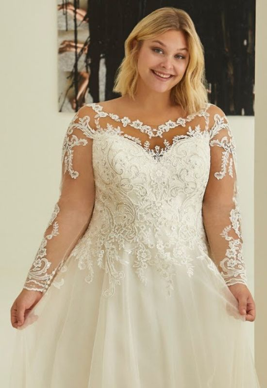 Marissa wedding dress by Modeca long sleeve, lace, ballgown wedding dress at Love it at Stellas Bridal and Fashions in Westminster, MD